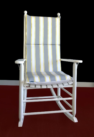 Gray Yellow Stripe Rocking Chair Pad