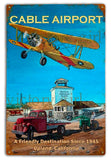 Vintage  Cable Stearman Airport Tin  12 x 18 Distressed