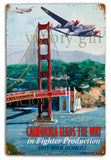 Vintage California Leads The Way Tin  12 x 18 Distressed