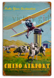 Vintage  Chino Airport Tin  12 x 18 Distressed