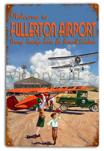 Vintage  Fullerton Airport Tin  12 x 18 Distressed