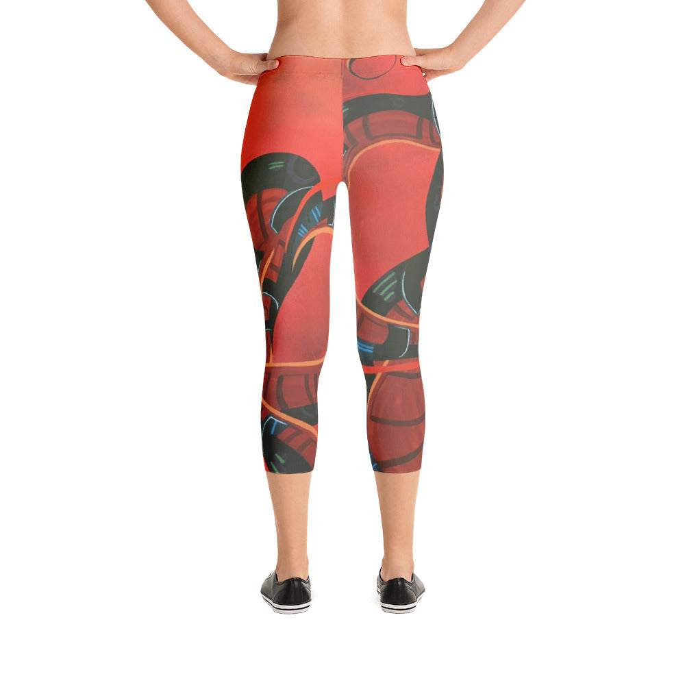 Ometeotl by Marcos Mata Capri Leggings