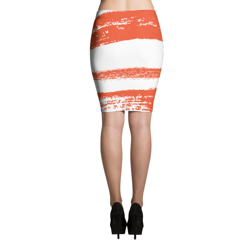 Orange Ink Pencil Skirt