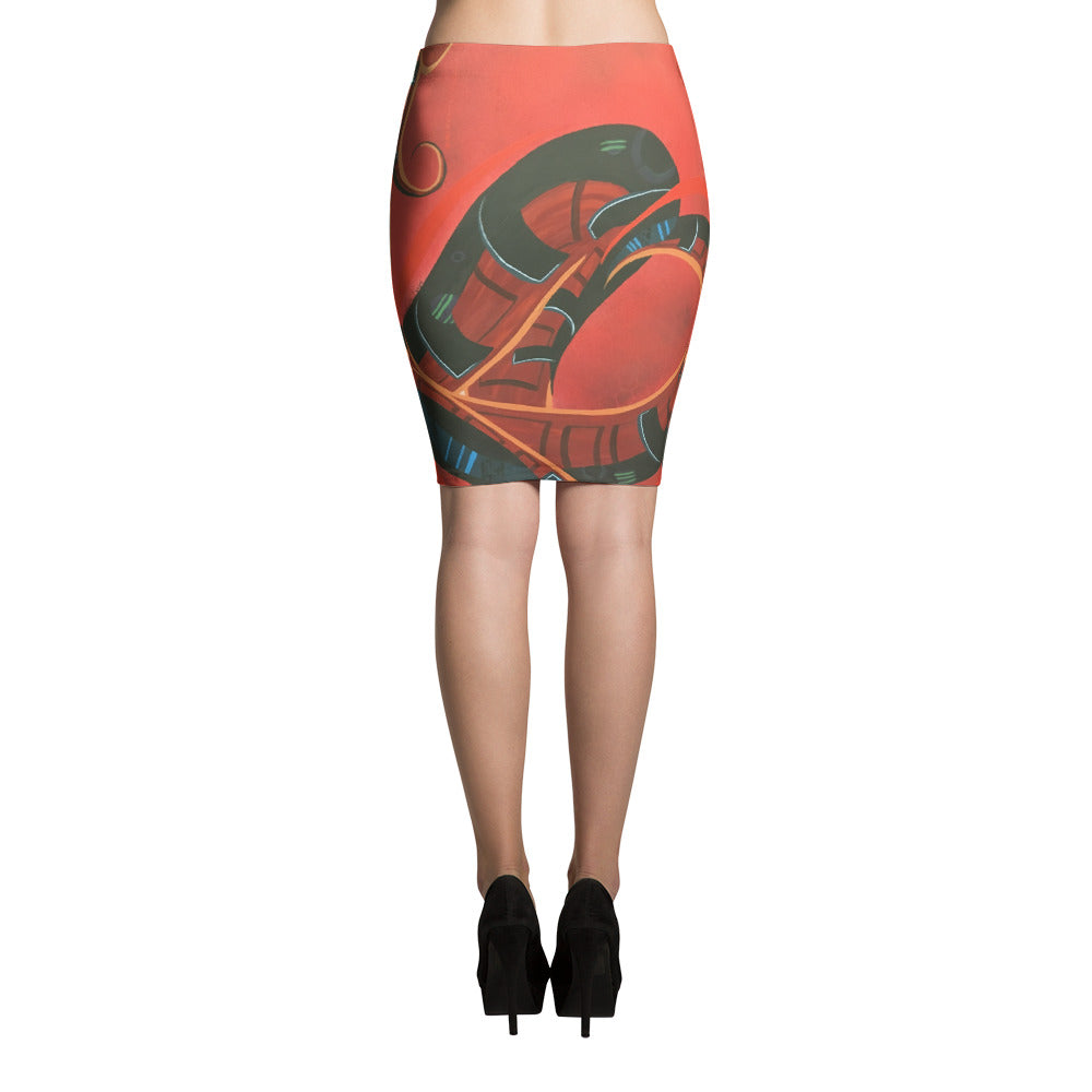 Ometeotl by Marcos Mata Pencil Skirt