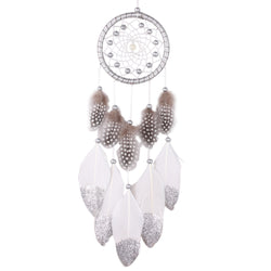 Handmade Silver Bead Dreamcatcher Wind Chimes Native American Indian Style Feather Hanging Decoration