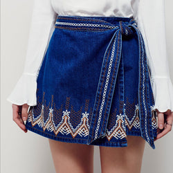 Embroidered denim miniskirt sexy chiffon blouse boho bohemian hippie chic style