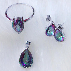 Pear shaped 4.5ct Genuine Gem Stone Rainbow Mystic Topaz Pendant Ring Earring Set Solid Pure 925 Sterling Silver