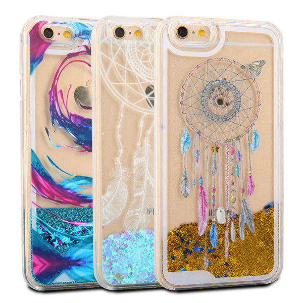 New Hot Liquid Dreamcatcher Glitter Star & Love hearts Case For iphone 6 6s Plus 7 7 Plus Crystal Clear Phone Back Cover