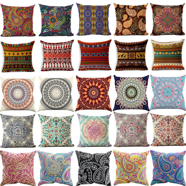 Cushion Covers New Bohemian Style Linen Cotton Blend Cushion Cover Home Square Pillow Cushion Covers
