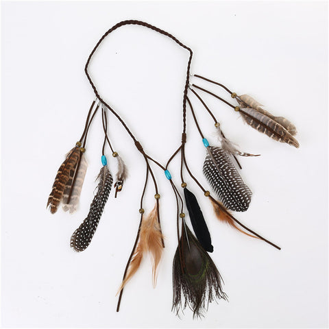 Bohemian Peacock & Quail Feather Hair Band