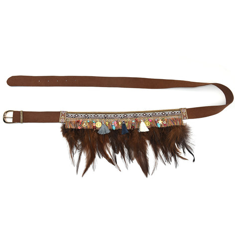Gypsy Hippie Bohemian leather & feather belt