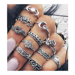 11pcs/set Boho Chic Moon Flowers Rose Jade Antique Silver Plated Midi Rings Set