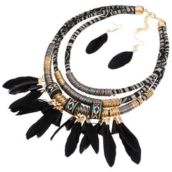 Bohemian necklace black or blue feather statement choker necklace antique tribal ethnic
