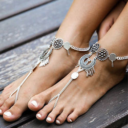 Vintage Tribal  Antique Silver Coin Anklet Ankle Bracelet Beach Barefoot Sandals