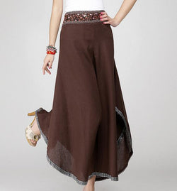 Skirted palazzo pants wide leg linen pants  long maxi loose skirt