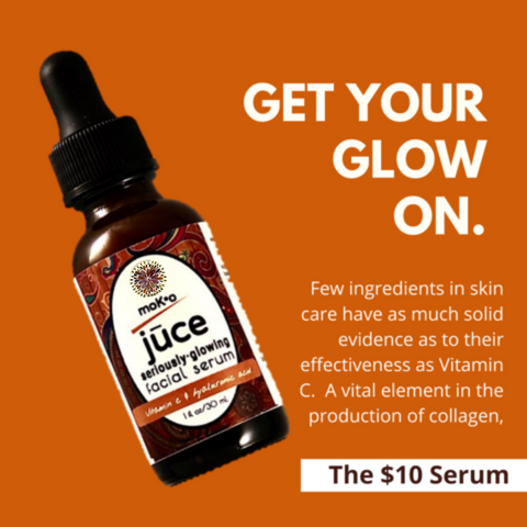 Get your glow on with Moko Organics St Paul The $10 Serum. Few ingredients in skincare have as much solid evidence as to their effectiveness as Vitamin C.  Think Collagen.