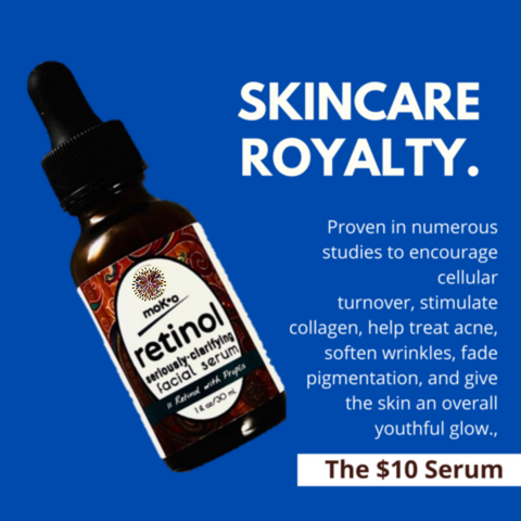 Retinol Serum provide amazing clarity, firmness and brillance to dull skin. Moko Organics' $10 Serum offers department store quality serums, masks, moisturizers and cleansers for just $10 each. Cool.