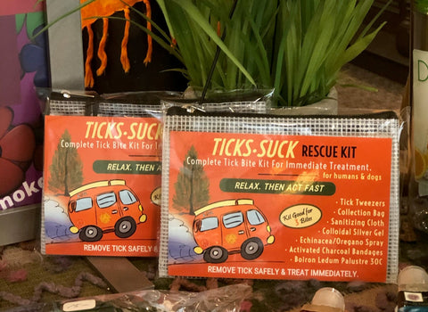 Available online or at the Maplewood Mall in St Paul, Moko's Ticks Suck Recue Kit.