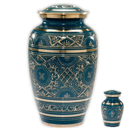 Caribbean Cremation Urn in Blue - Adult Brass & Metal Urn for Ashes, Urn For Human Ashes - Divinity Urns.