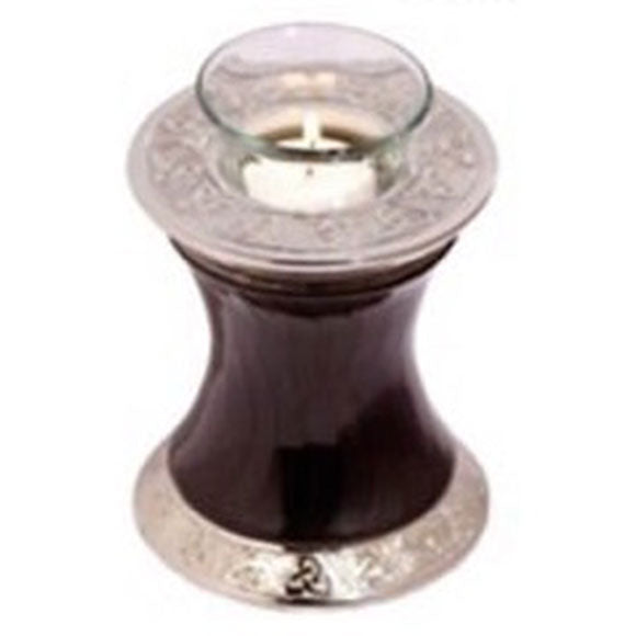 Baroque Shadow Tealight Cremation Urn Black, Tealight Urn - Divinity Urns.
