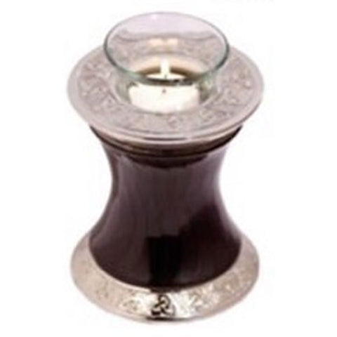 Baroque Shadow Tealight Cremation Urn Black, Tealight Urn - Divinity Urns