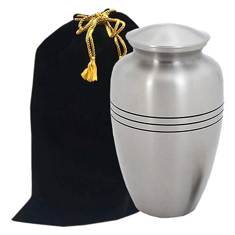 Classic Cremation Urn in Pewter - Pewter Urn with Valet Bag - Brass & Metal Urn For Ashes - Adult Urn | Divinity Urns