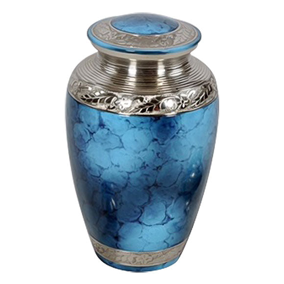 Classic Cremation Urn in Blue, Brass Urn - Divinity Urns.