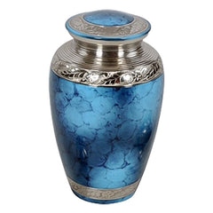 Classic Cremation Urn in Blue - Blue Urn - Brass & Metal Urn For Ashes - Adult Urn | Divinity Urns