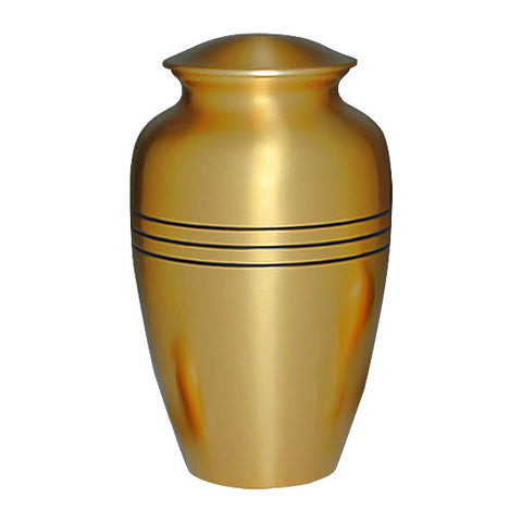 Classic Cremation Urn  For Ashes in Gold - Gold Urn - Brass & Metal Urn For Ashes - Three Bands Urn - Adult Urn | Divinity Urns