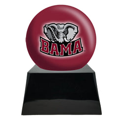 Football Cremation Urn with Optional Alabama Crimson Tide Ball Decor and Custom Metal Plaque