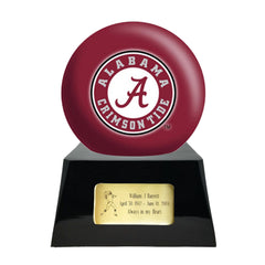 Football Cremation Urn with Optional Alabama Crimson Tide Ball Decor and Custom Metal Plaque, Football Team Urns - Divinity Urns