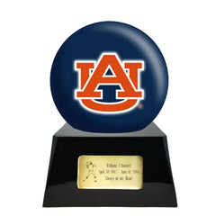Football Cremation Urn with Optional Auburn Tigers Ball Decor and Custom Metal Plaque, Football Team Urns - Divinity Urns