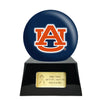 Image of Football Cremation Urn with Optional Auburn Tigers Ball Decor and Custom Metal Plaque, Football Team Urns - Divinity Urns