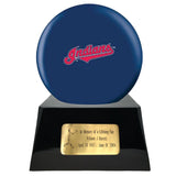Baseball Cremation Urn and Cleveland Indians Ball Decor with Custom Metal Plaque