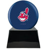 Image of Baseball Cremation Urn with Optional Cleveland Indians Ball Decor and Custom Metal Plaque, Baseball - Divinity Urns.