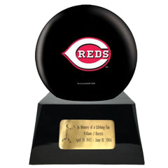 Baseball Cremation Urn with Optional Cincinnati Reds Ball Decor and Custom Metal Plaque, Sports Urn - Divinity Urns