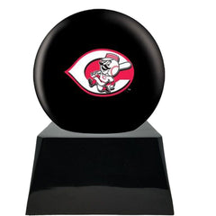 Baseball Cremation Urn with Optional Cincinnati Reds Ball Decor and Custom Metal Plaque