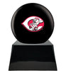 Image of Baseball Cremation Urn with Optional Cincinnati Reds Ball Decor and Custom Metal Plaque, Baseball - Divinity Urns.