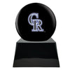 Image of Baseball Cremation Urn with Optional Colorado Rockies Ball Decor and Custom Metal Plaque, Baseball - Divinity Urns