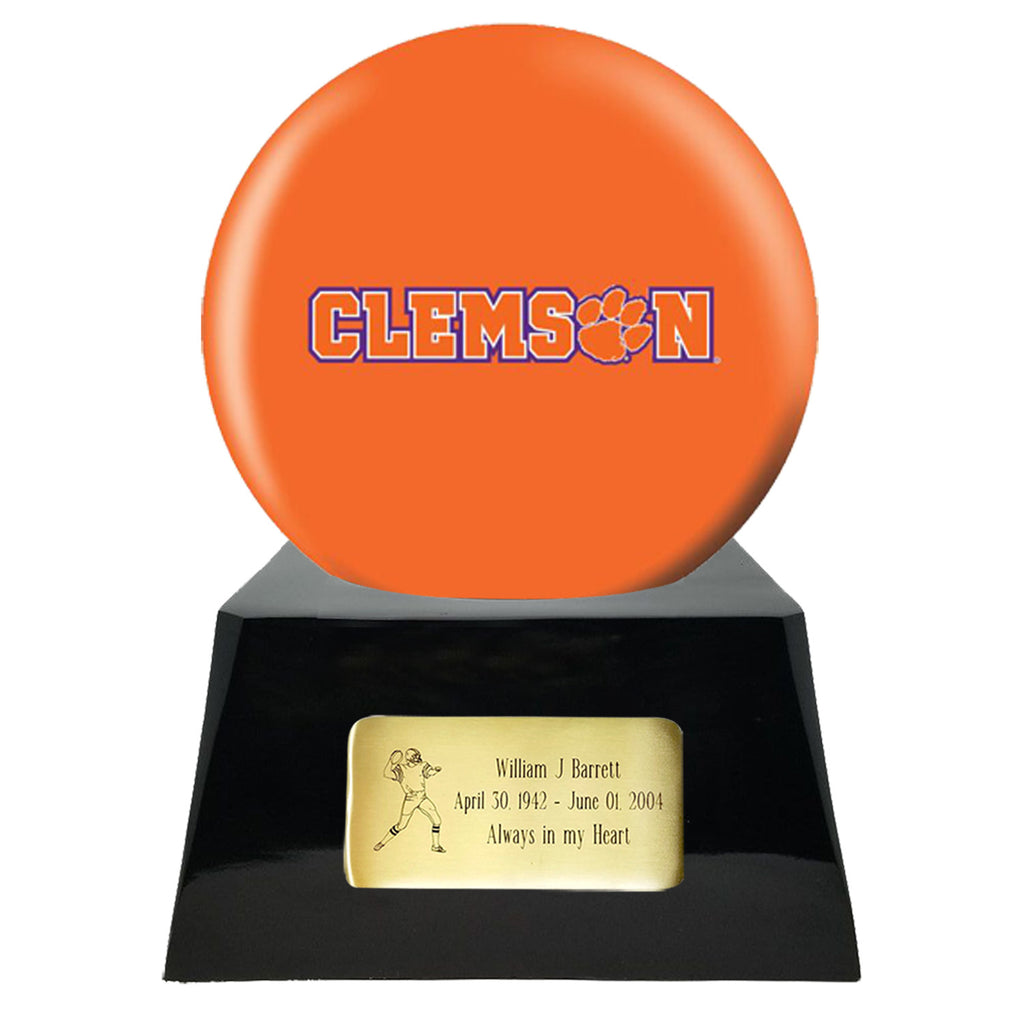 Football Cremation Urn with Optional Clemson Tiger Ball Decor and Custom Metal Plaque, Football Team Urns - Divinity Urns