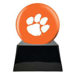 Football Cremation Urn and Clemson Tiger Ball Decor with Custom Metal Plaque, Football Team Urns - Divinity Urns