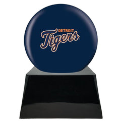 Baseball Cremation Urn with Optional Detroit Tigers Ball Decor and Custom Metal Plaque