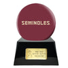 Image of Football Cremation Urn with Optional Florida State University Seminoles Ball Decor and Custom Metal Plaque, Football Team Urns - Divinity Urns