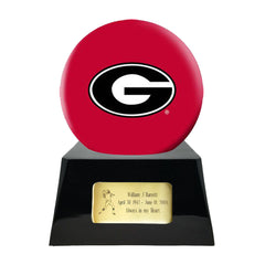 Football Cremation Urn with Optional Georgia Bulldogs Ball Decor and Custom Metal Plaque, Football Team Urns - Divinity Urns