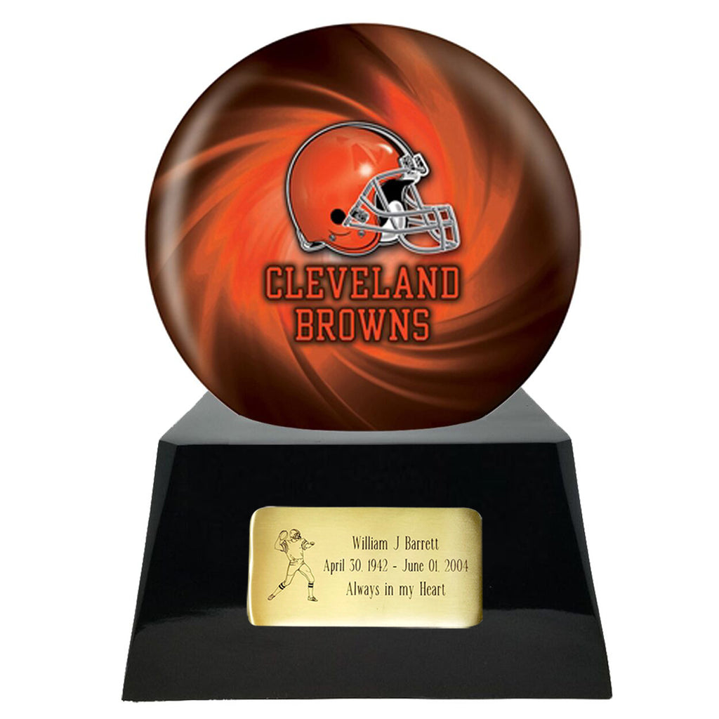 Football Cremation Urn with Optional Cleveland Browns Ball Decor and Custom Metal Plaque, Sports Urn - Divinity Urns.