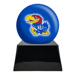 Football Cremation Urn with Optional Kansas Jayhawks Ball Decor and Custom Metal Plaque