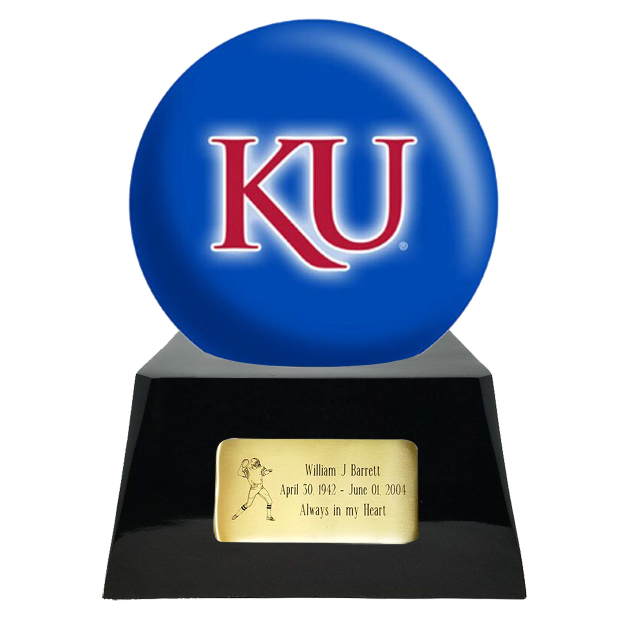 Football Cremation Urn and Kansas Jayhawks Ball Decor with Custom Metal Plaque, Football Team Urns - Divinity Urns