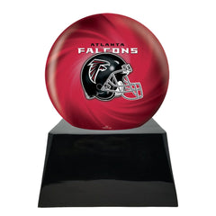 Football Cremation Urn with Optional Atlanta Falcons Ball Decor and Custom Metal Plaque