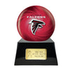 Image of Football Cremation Urn with Optional Atlanta Falcons Ball Decor and Custom Metal Plaque, Sports Urn - Divinity Urns.