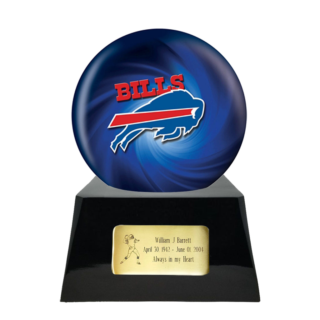 Football Cremation Urn with Optional Buffalo Bills Ball Decor and Custom Metal Plaque, Sports Urn - Divinity Urns